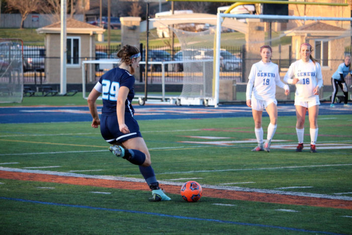 Jennifer Masello on the field in action as a varsity soccer player.