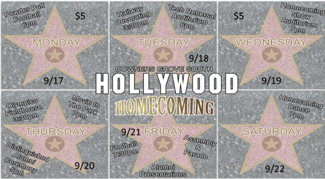 It's Homecoming Week Mustangs. Here are the activities for the week.