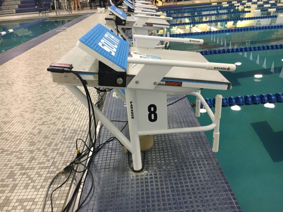 A new swimming block stands by the pool.