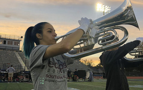 Emma Clemens practices increasing  her sound on baritone in the marching band.