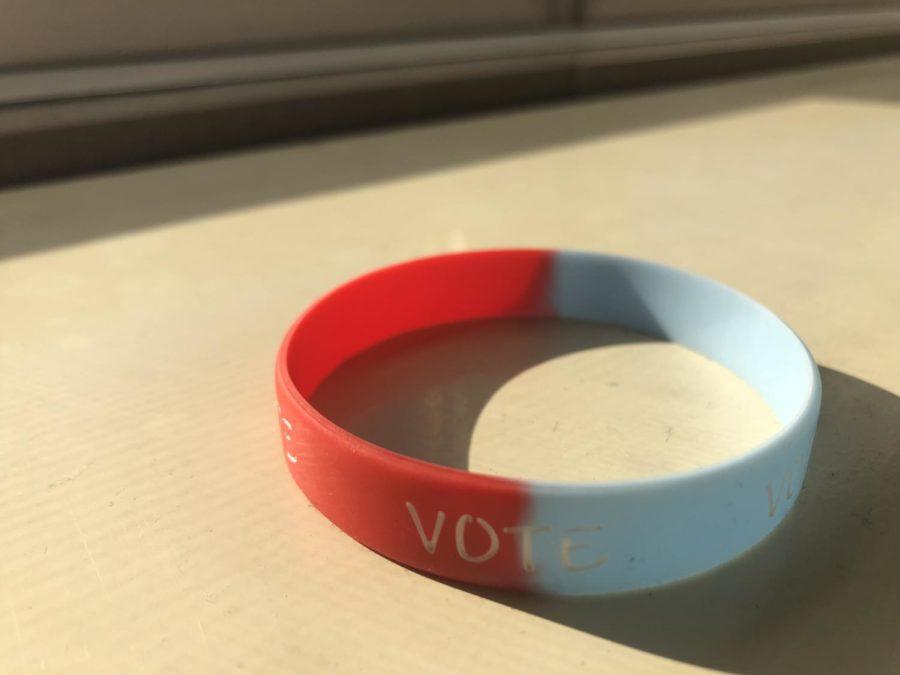 Natalie Casas' voting bracelet from Law American Society.