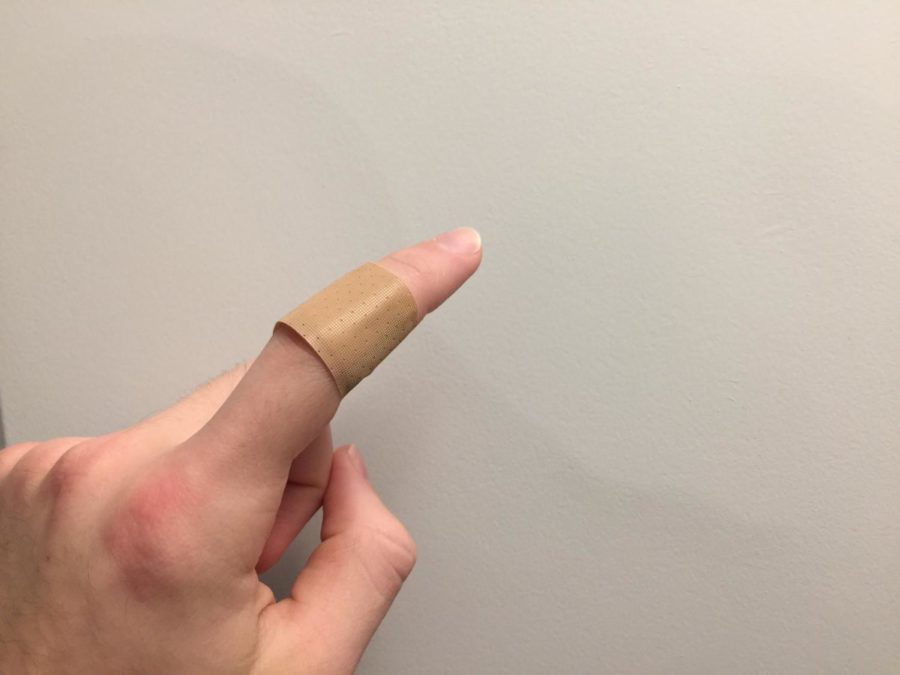 A standard bandage on a standard paper cut.