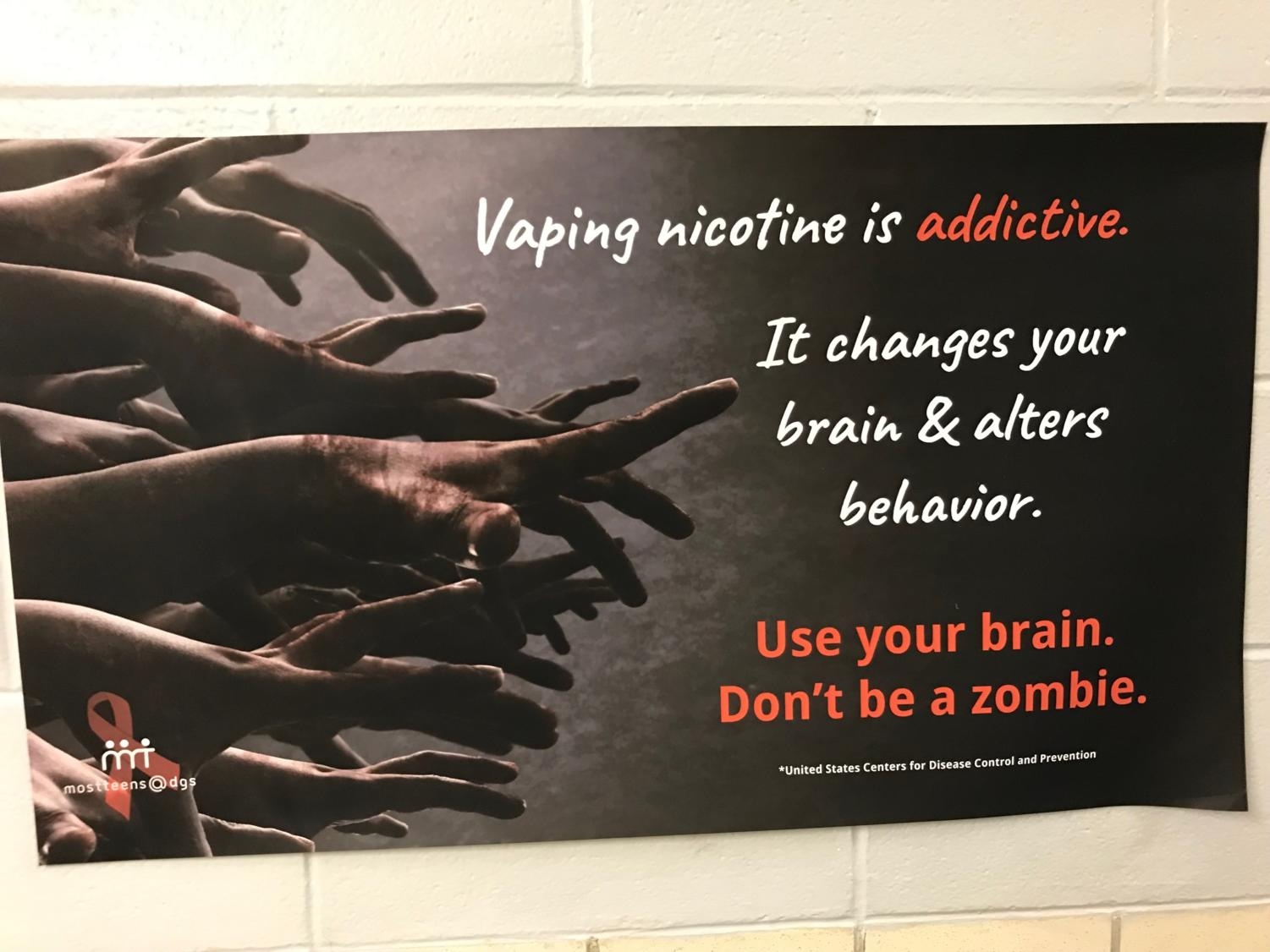 A vaping poster shown in the  A and D staircase.