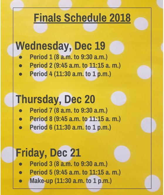 Here is the finals schedule for 2018, with times listed