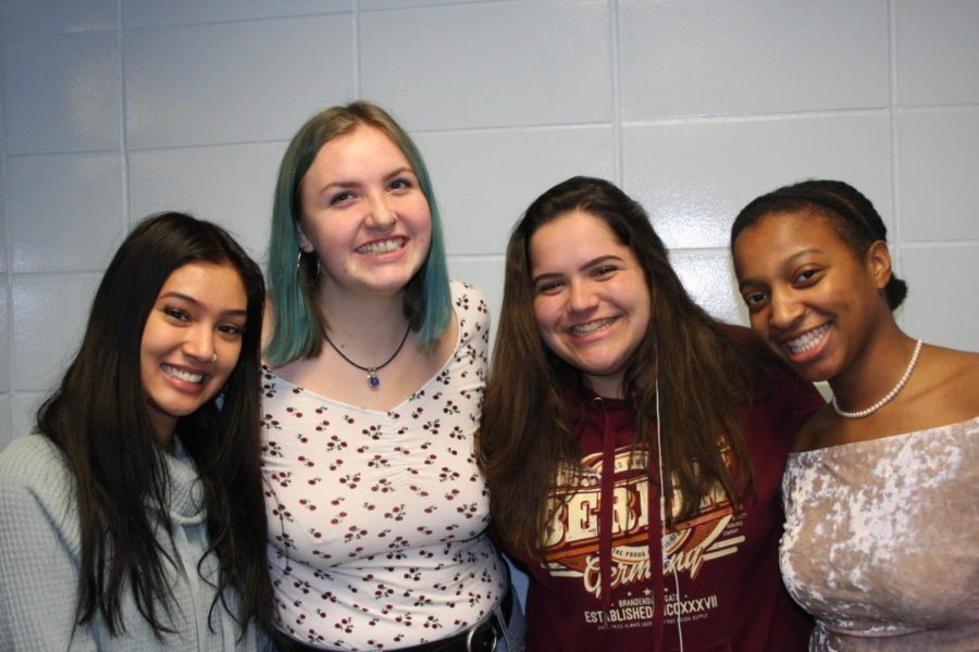 Seniors Scottyln Williams, Catherine Mcintrye, Reese Clemens and Melissa Valmores sit at lunch together every day, sharing their life experiences despite their differences in culture and ethnicity.