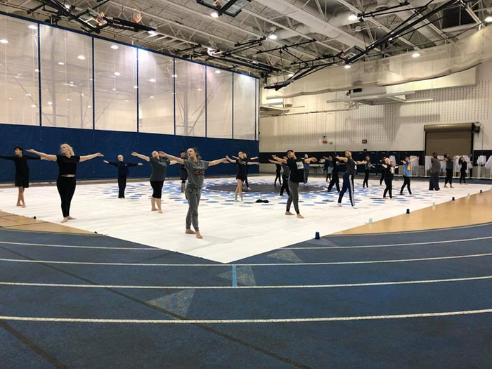 The+DGS+Winter+Guard+prepares+to+compete+at+Romeoville++High+School.+The+competition+is+Jan.+26.+