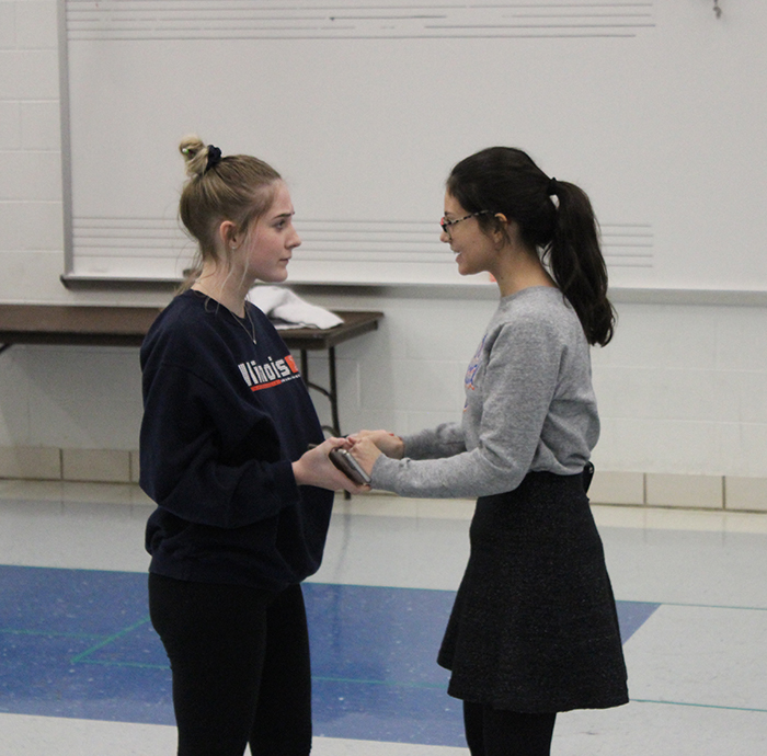 Junior Kira Matheson (Cassius) and sophomore Alaina Vergara (Brutus) rehearse in preparation for their performance at the Illinois Theater Fest.