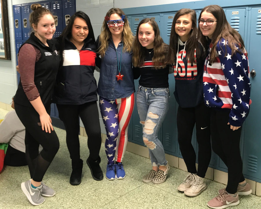 Ms. Neindorf's fourth period early childhood care class participates in the third day of spirit week.