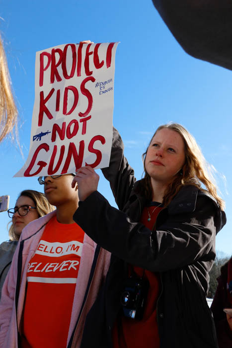 Several students chose to walk out because they wanted more gun laws.