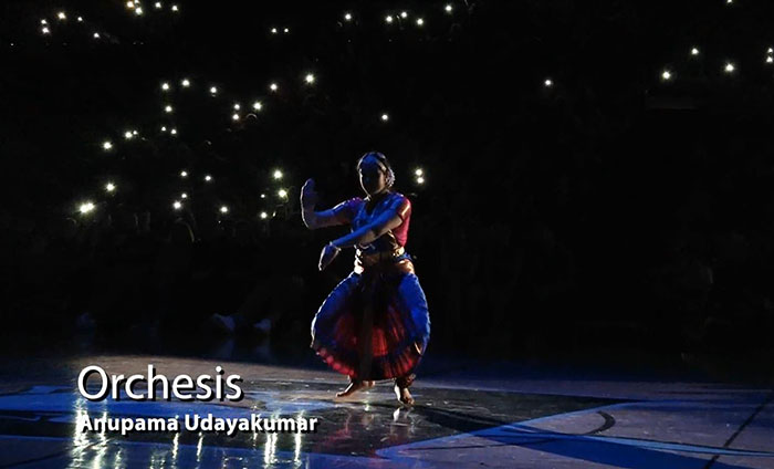 Anupama+Udyakumar+performing+her+dance+for+Orchesis+during+the+assembly.