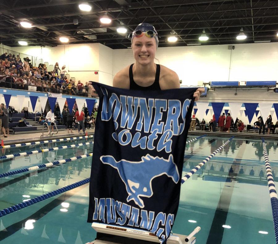 Freshman Hailey Welp, member of the DGS girl's swim team, at a meet this season.