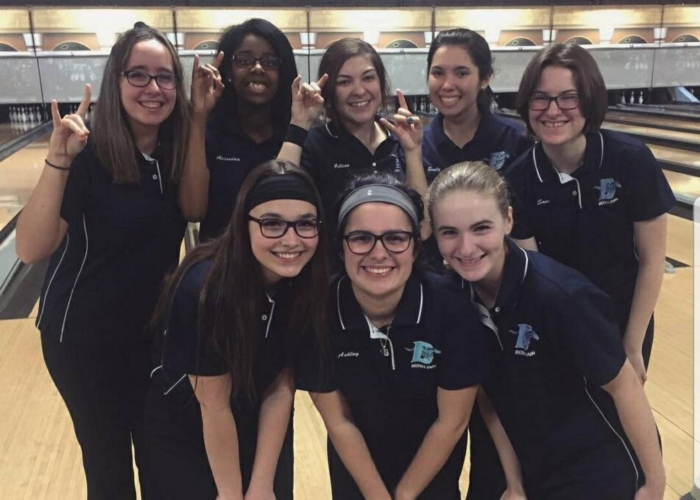 McCoy (bottom right) has been on the DGS Girls' Bowling team for three years. This year was her first year on the varsity team.
