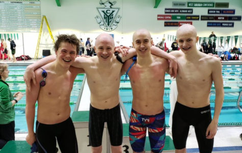 The DGS boys' 200-yard freestyle relay team broke a 26-year-old record, previously set in 1993.  (Pictured left to right: Bobby Sayre, Aidan Logan, Jack Kulaga, Thomas Noller)