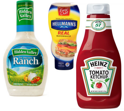 A few of the more popular condiment items, such as mayonnaise and ketchup.