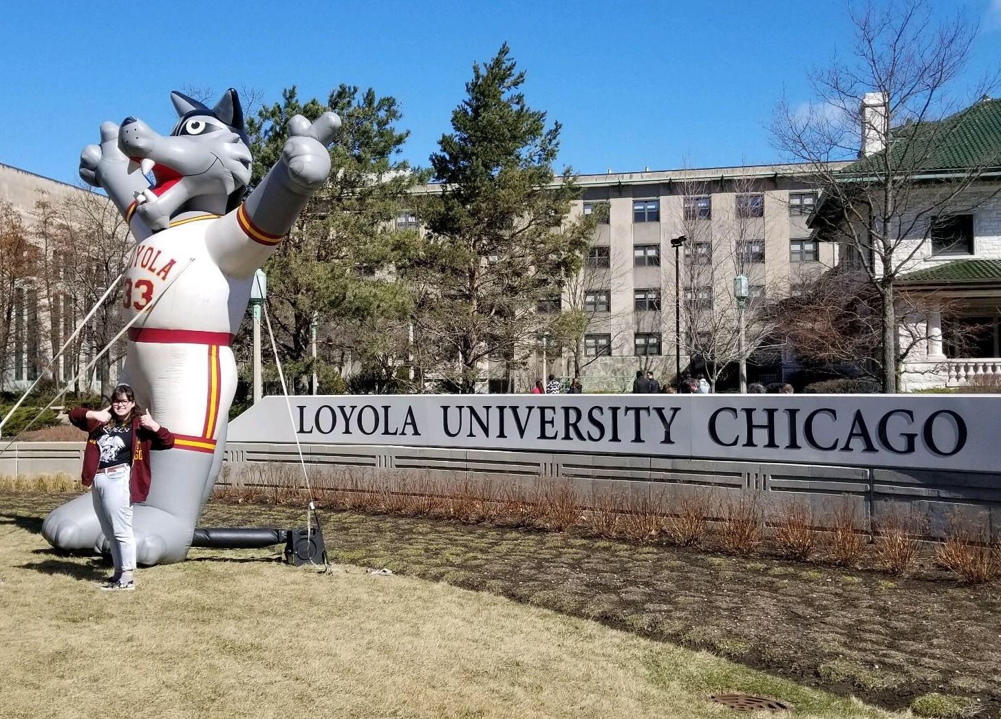 Missy Tepe standing outside Loyola University Chicago where she will be attending college next year.