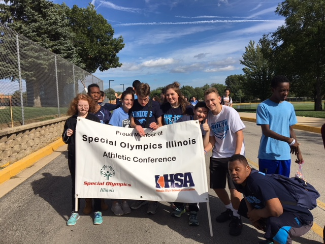 The Special Olympics team participates in many activities around school including the Homecoming parade.
