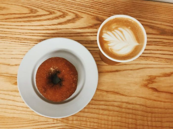 I enjoyed a delicious fall latte with an apple cider doughnut, which was perfect for fall.