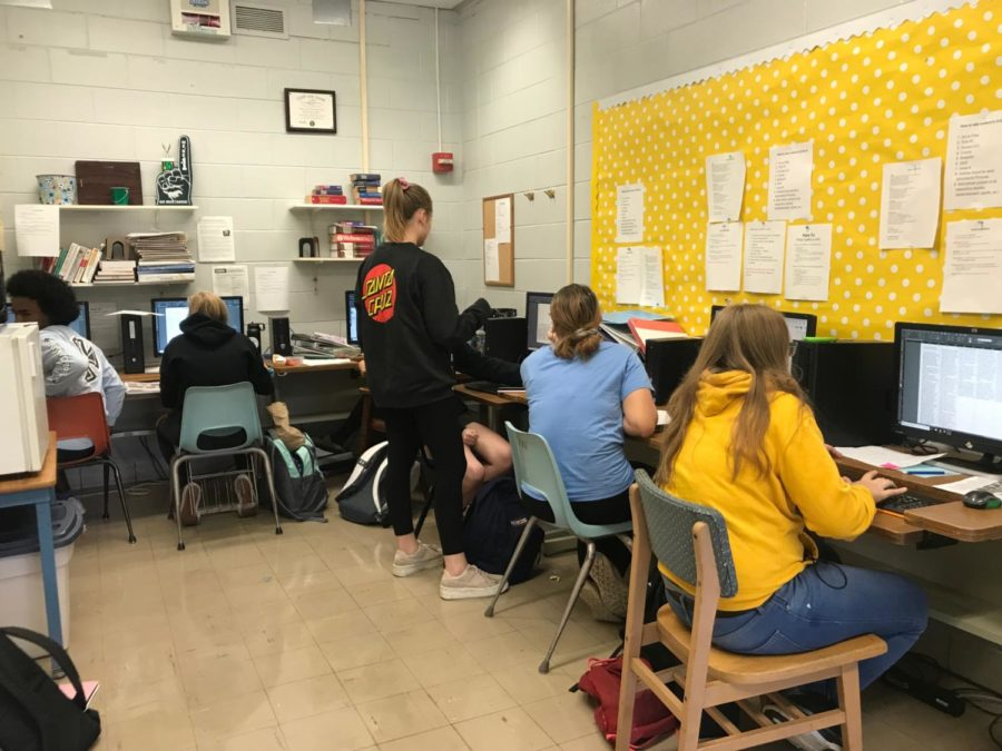 Journalism students are hard at work writing, editing and publishing articles.