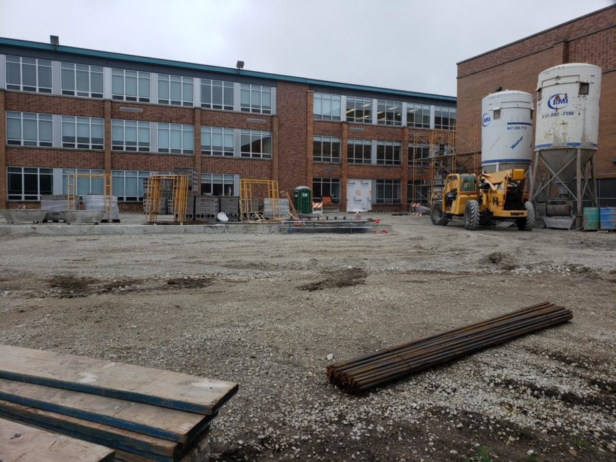 The construction site outside of the C hallway at DGS.