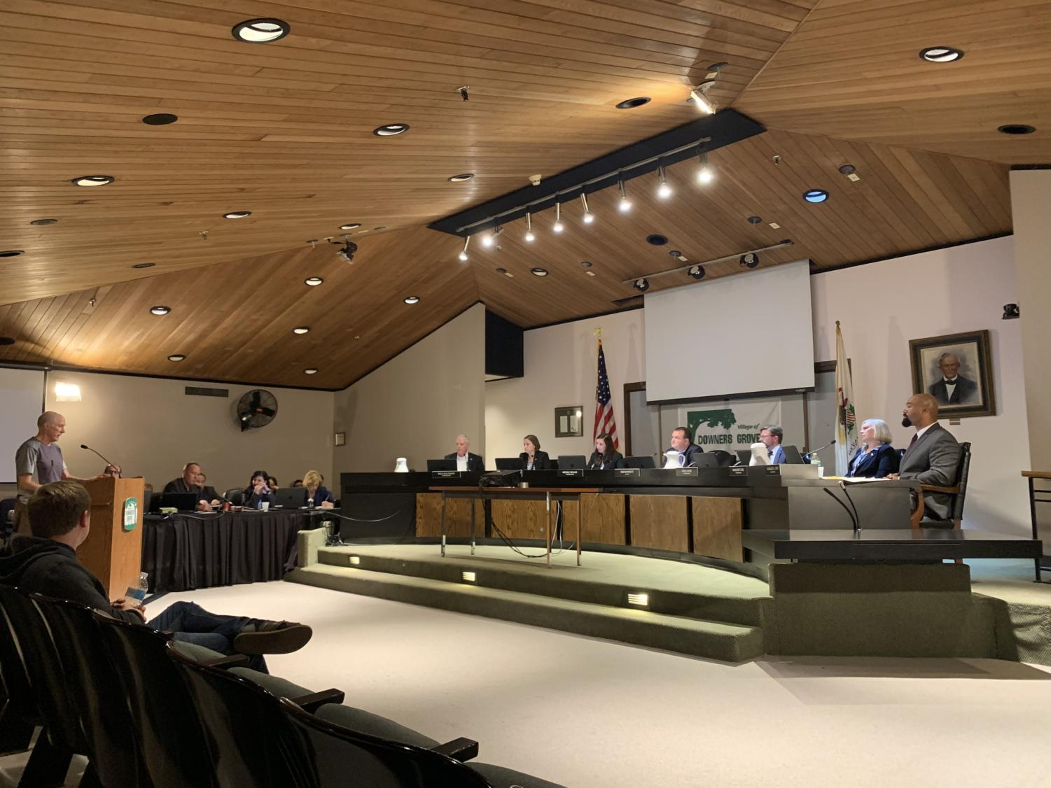 The Downers Grove Village Council listens as local residents share their thoughts on whether or not the village should opt out of selling recreational marijuana.