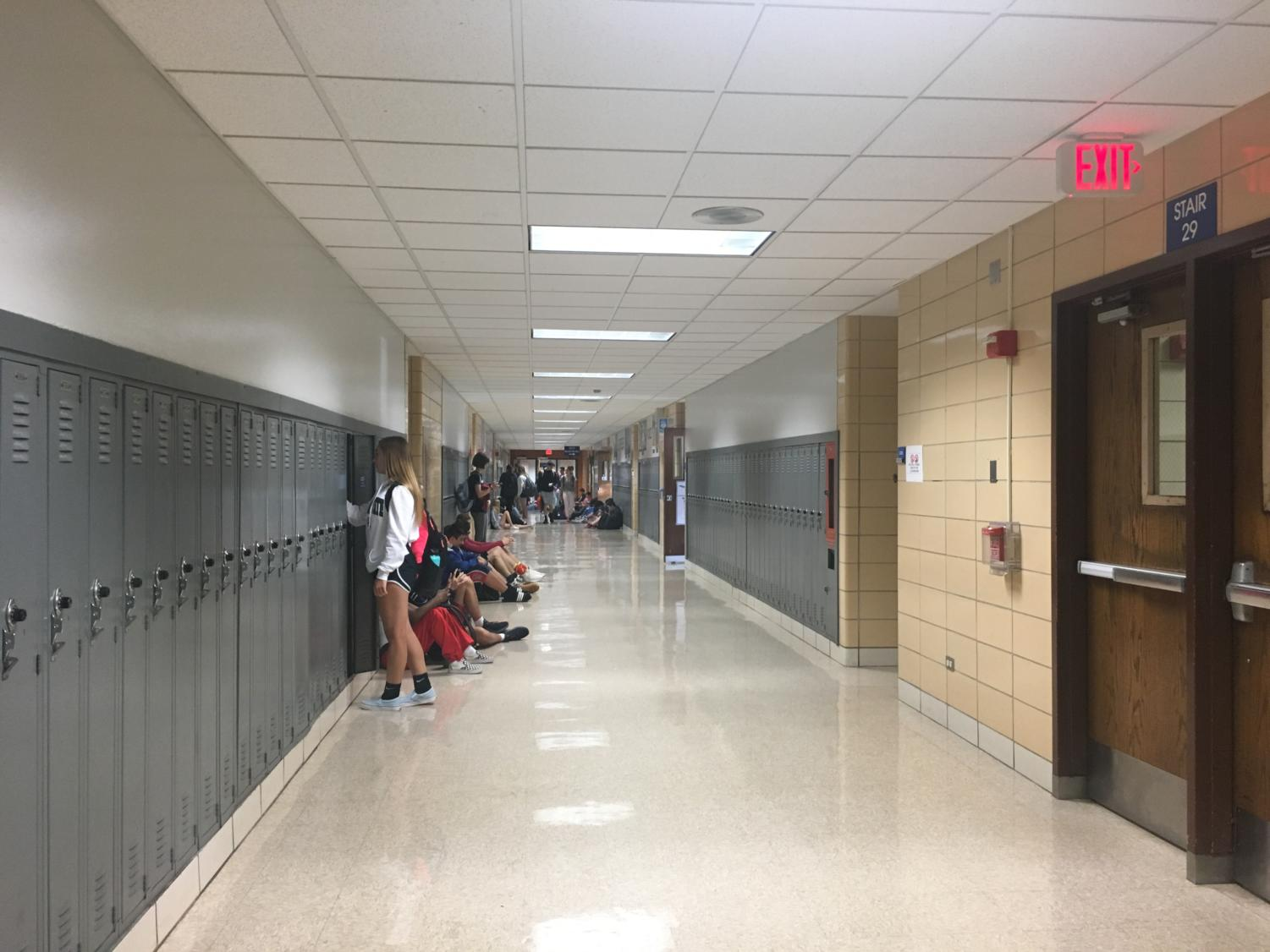 The hallways are empty in the morning at about 7:50 a.m. before the music starts at 7:55 a.m.