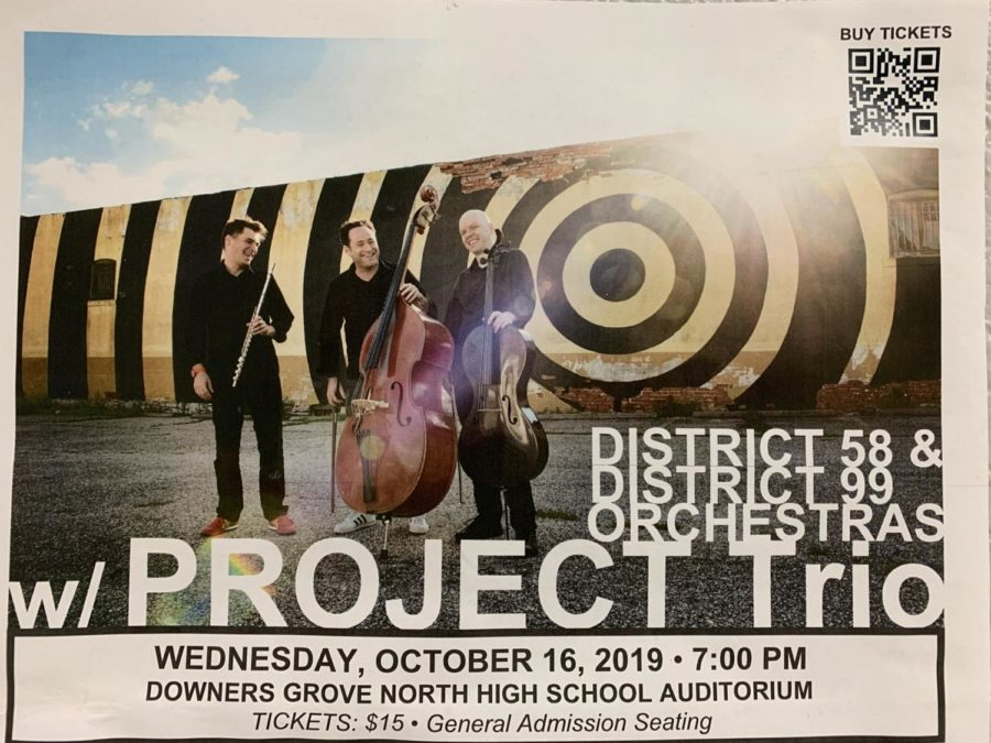 Poster hanging up the band hallway debuting the upcoming performance with