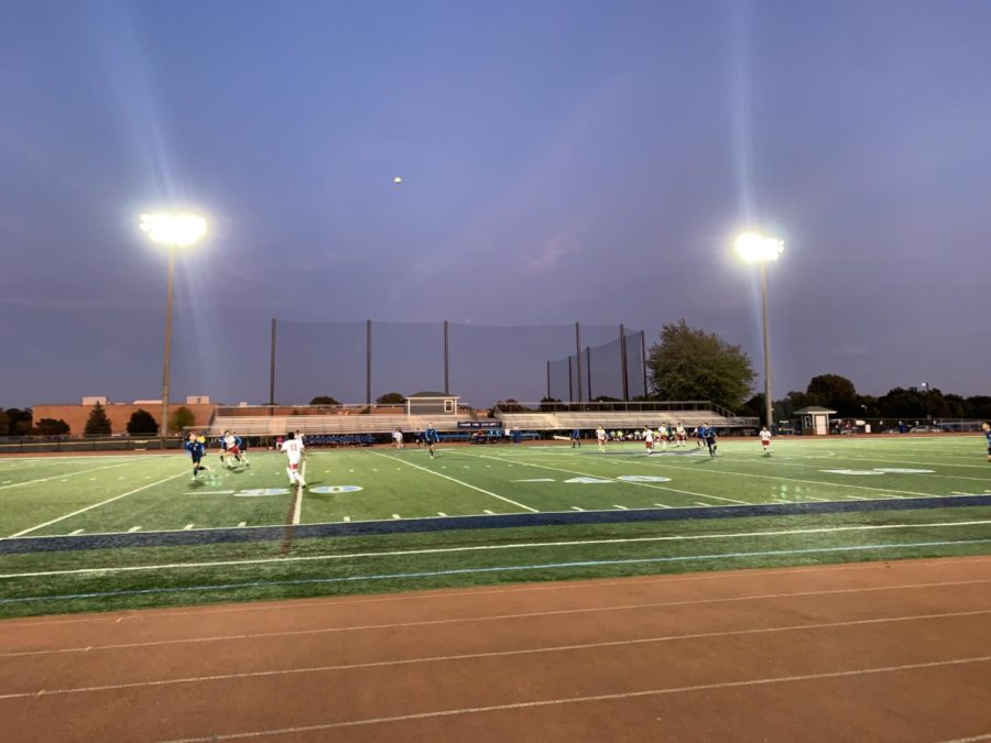Boys' soccer transfers skills learned on the practice turf onto the stadium turf.