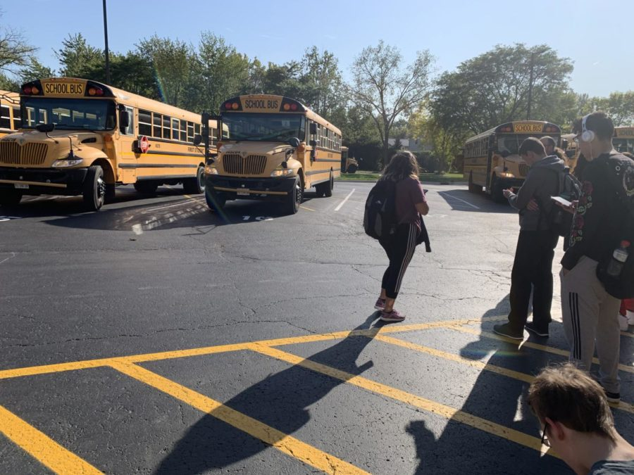 My bus is the only bus not pulled into the lot... what a surprise (not).