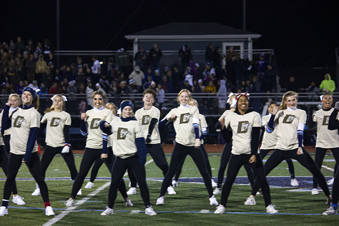 The Fillies varsity dance team and the coed varsity cheerleaders paired up to give a combined halftime show. The two teams preformed to a mashup of popular hit songs.