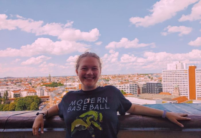 Bella Oberg is overlooking Berlin, Germany while relaxing out of school.