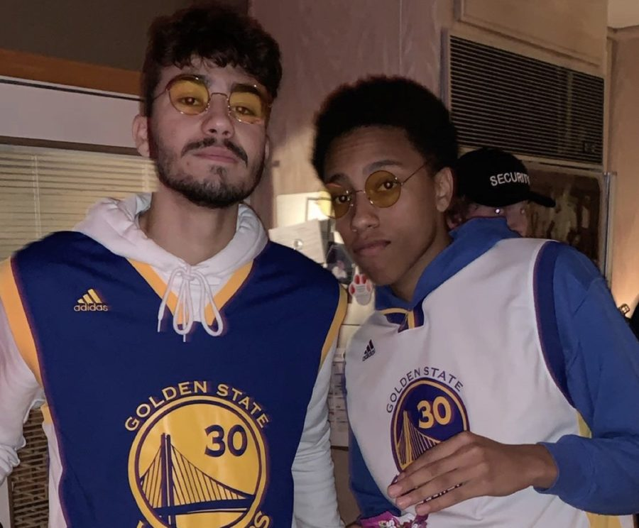 Devin Pope and Angelo Ognianov wear matching costumes on Halloween.