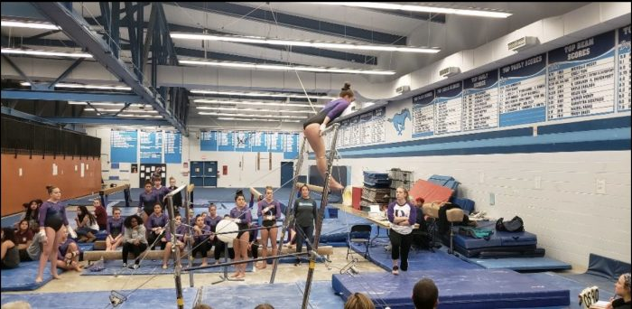 The girl's gymnastics team faces off against  the Morton Mustangs