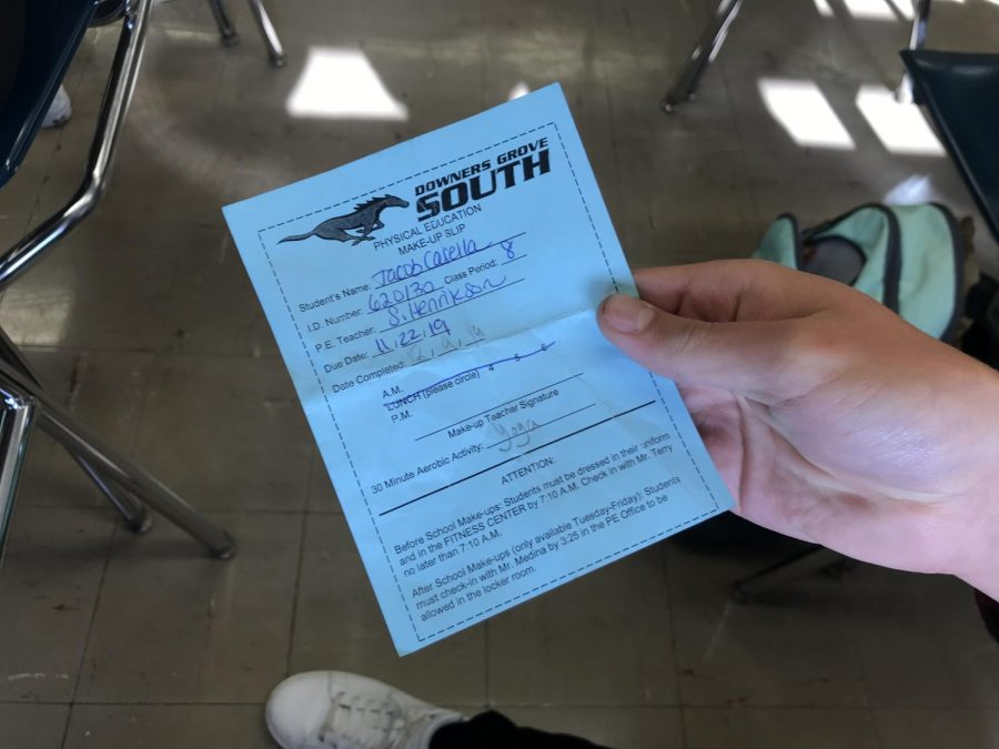 PE slips are provided by the PE Department. Ask your teacher for one if necessary.