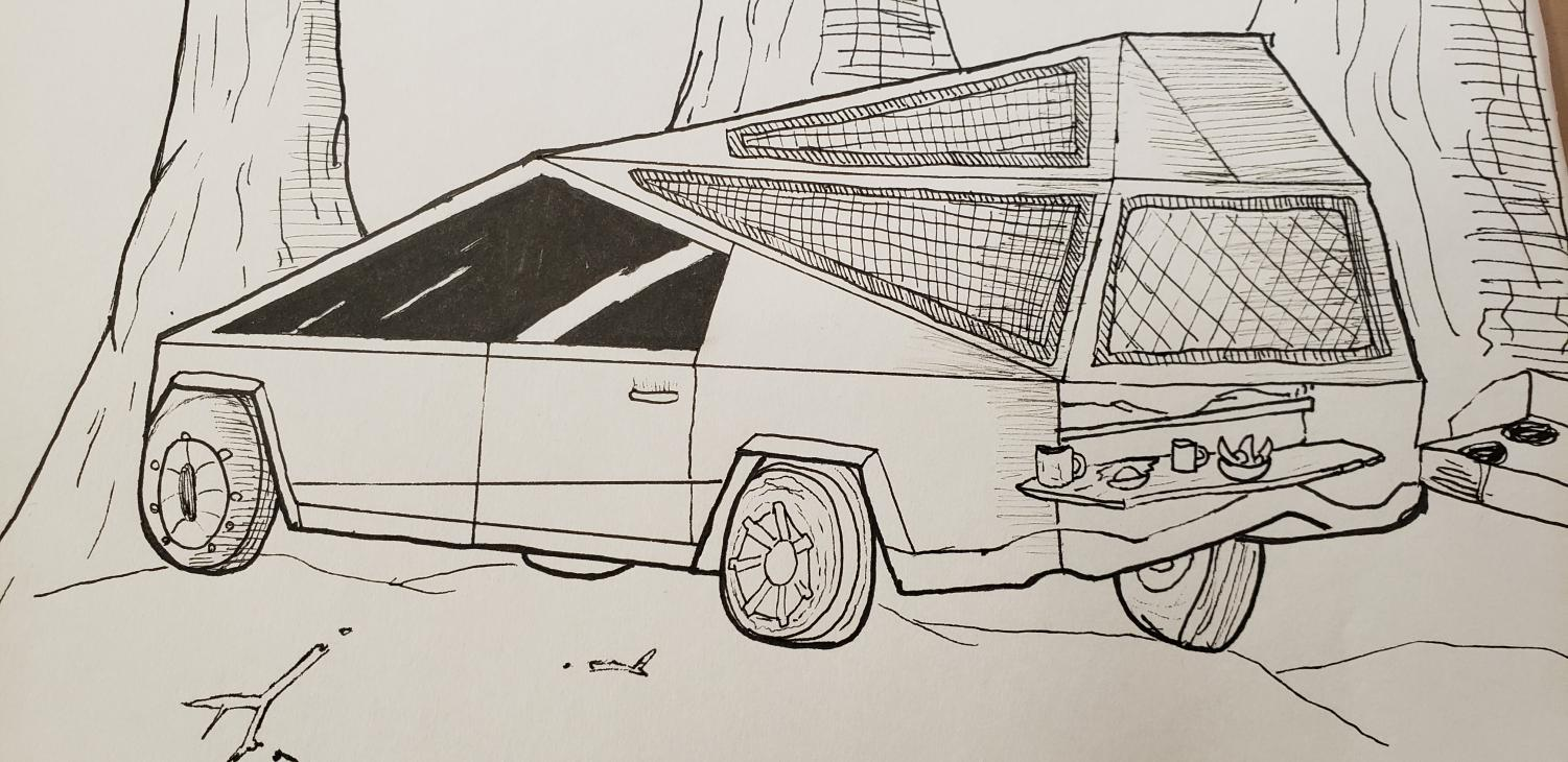The Cybertruck offers an all electric RV setup with a grill.
