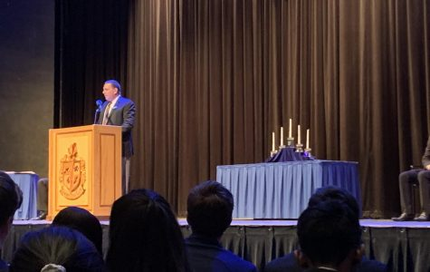Principal Edward Schwartz welcomes DGS family and friends to the induction ceremony.