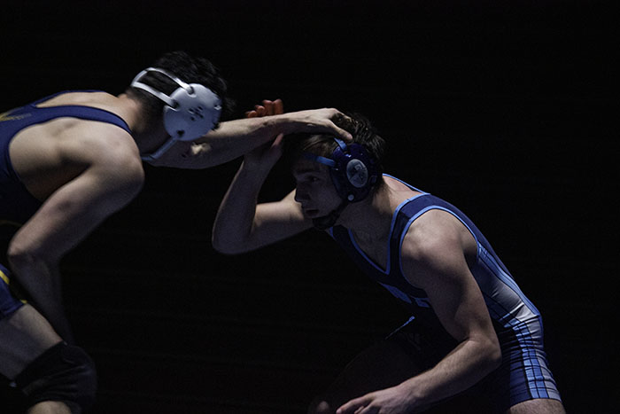 Robert Major works to pin down DGS wrestling record