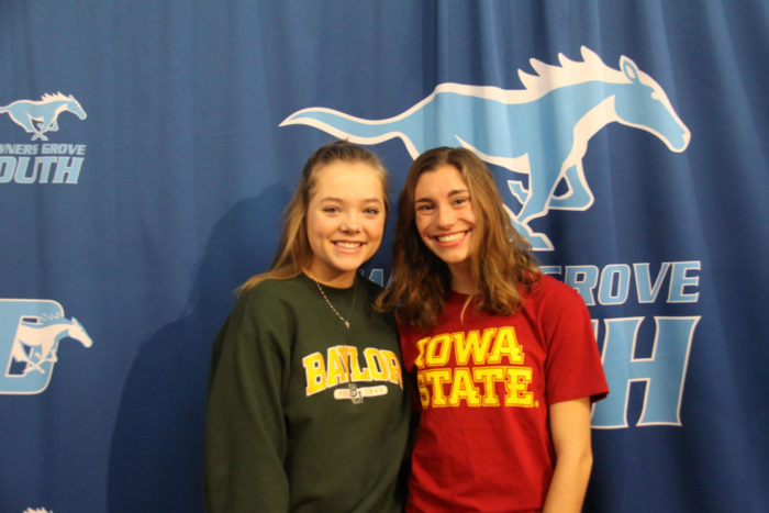 Blueprint staff members  Tatum Mitchell and Brenna Cohoon at the signing day at DGS in November.