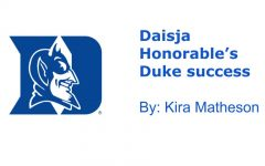 The Duke University logo, a symbol of Daisja's success in her high school career.