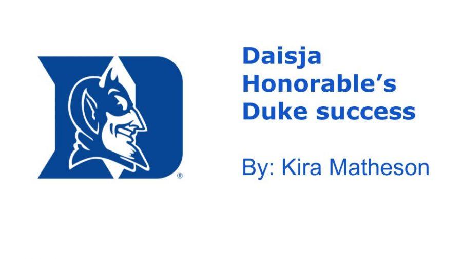 The Duke University logo, a symbol of Daisja's success in her high school career.