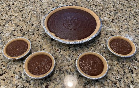 The result of the chocolate pie recipe. The recipe made some extra filling, so I bought some mini pie crusts too.
