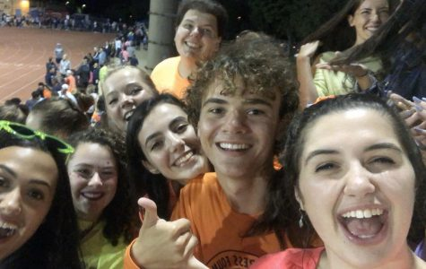 Enjoying the first football game of senior year -- little did we know how the year would be altered