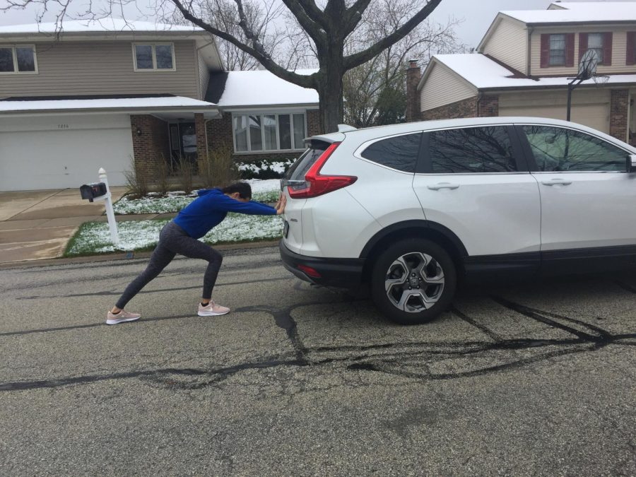 Quarantine has allowed me to get creative with my workouts; I pushed a car down the street.