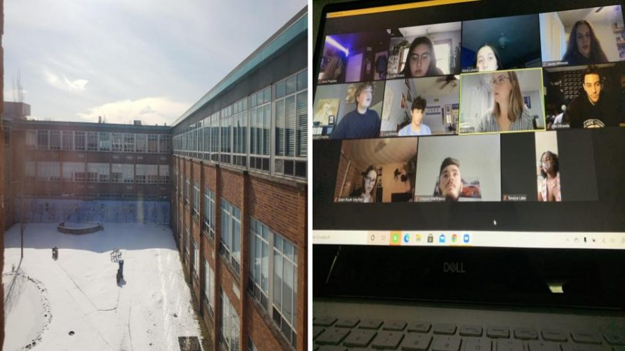 Side by side photo shares the difference between in person learning and a Zoom call.