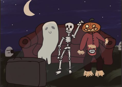The spooky gang enjoying their movies in the cemetery!