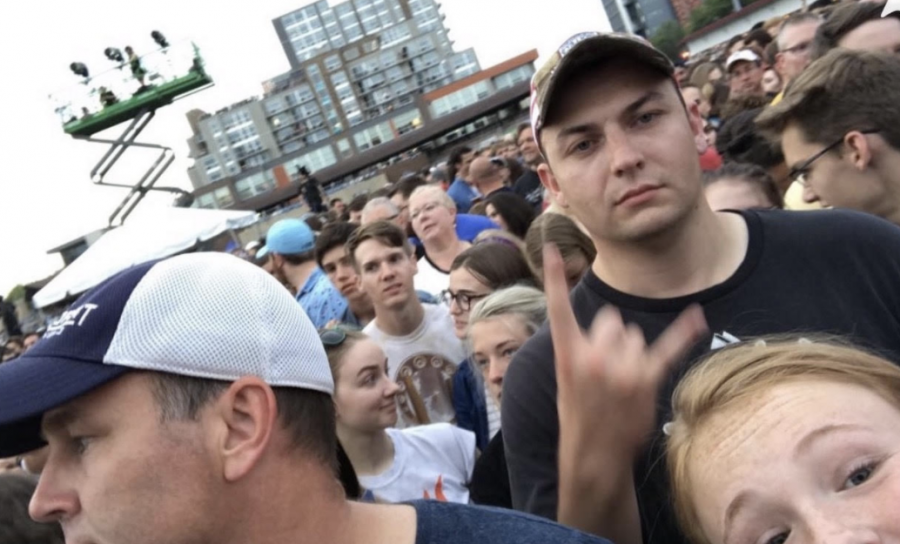 Metherd, bottom right, in the crowd of the Greta Van Fleet concert, enjoying the music while meeting new people.