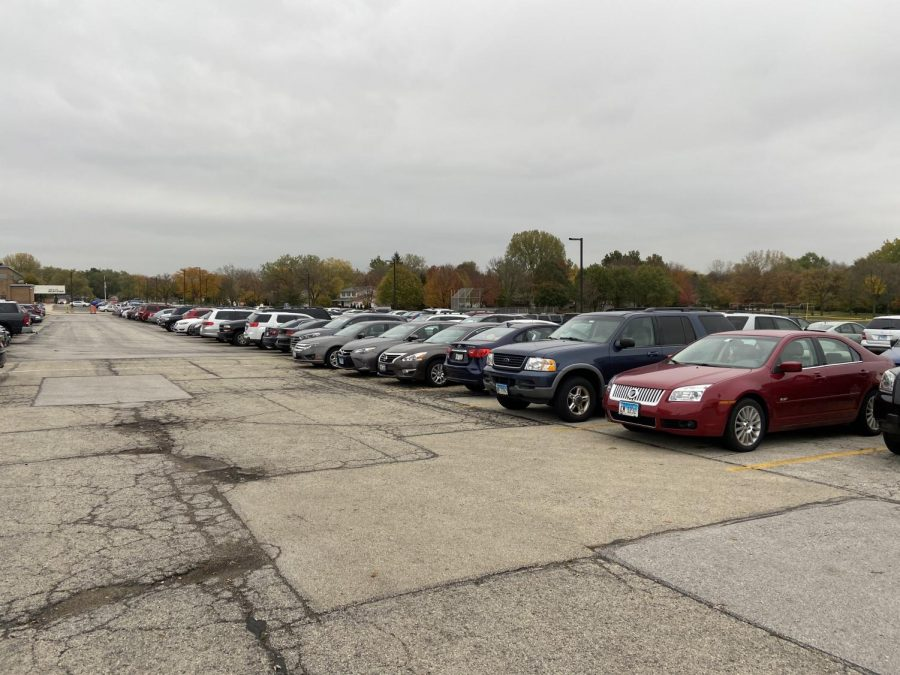 The senior lot sits at max capacity during in-person learning.