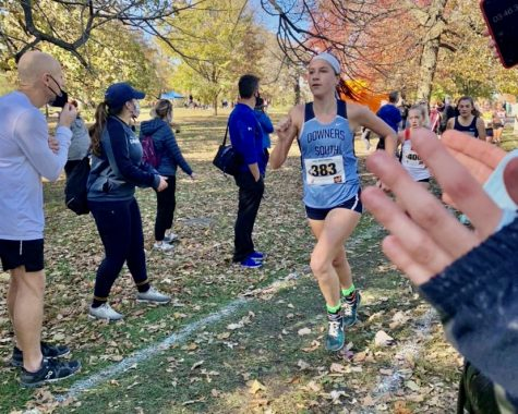 Junior Alex Spang runs in the IHSA cross country sectionals.