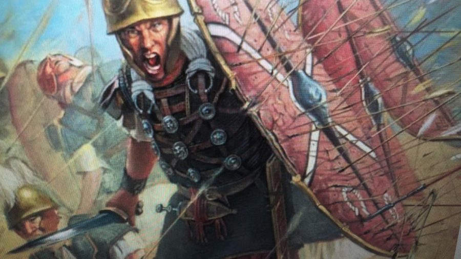 Roman soldiers clashing with opposing forces in this depiction of ancient warfare.