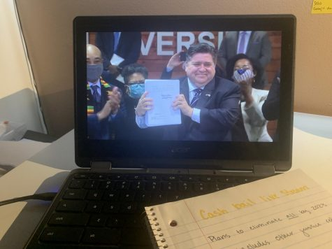 Governor J.B. Pritzker directly after signing the bill that pledges to end cash bail as well as introduces other acts of criminal justice reform.