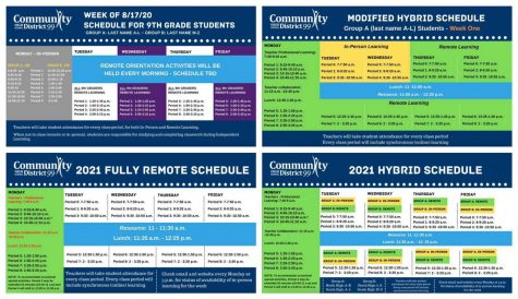 THE YEAR IN SCHEDULES: different variations of hybrid and fully remote schedules have been in place all year, and by the end of tonight's Board meeting a decision will be finalized for which more aggressive model will be implemented after spring break.